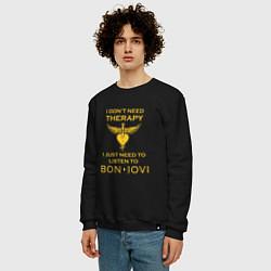 Свитшот хлопковый мужской I just need to listen to Bon Jovi цвета черный — фото 2