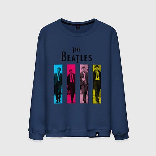 Мужской свитшот Walking Beatles / Тёмно-синий – фото 1