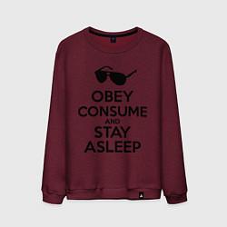 Свитшот хлопковый мужской Obey consume цвета меланж-бордовый — фото 1