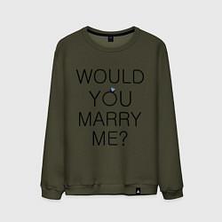 Свитшот хлопковый мужской Would you marry me? цвета хаки — фото 1