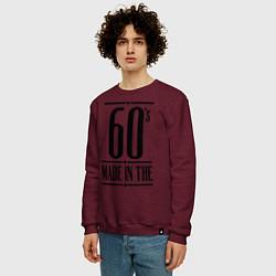 Свитшот хлопковый мужской Made in the 60s цвета меланж-бордовый — фото 2