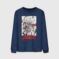 Свитшот хлопковый мужской Avengers: Marvel цвета тёмно-синий — фото 1