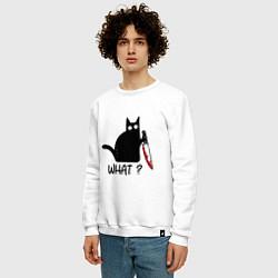 Свитшот хлопковый мужской What cat цвета белый — фото 2