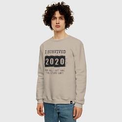 Свитшот хлопковый мужской 2020 - я выжил цвета миндальный — фото 2