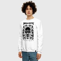 Свитшот хлопковый мужской Megadeth Thirteen цвета белый — фото 2