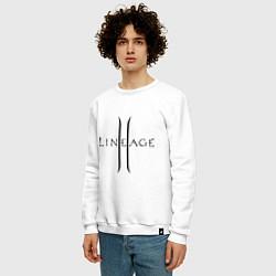 Свитшот хлопковый мужской Lineage logo цвета белый — фото 2