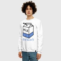 Свитшот хлопковый мужской White Milk цвета белый — фото 2