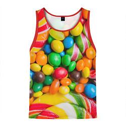Майка-безрукавка мужская Сладкие конфетки цвета 3D-красный — фото 1
