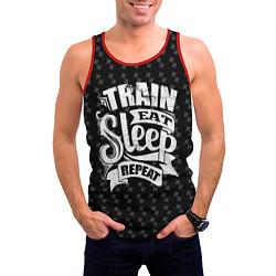 Майка-безрукавка мужская Train Eat Sleep Repeat цвета 3D-красный — фото 2
