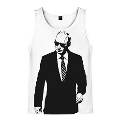 Майка-безрукавка мужская Вежливый Путин цвета 3D-белый — фото 1