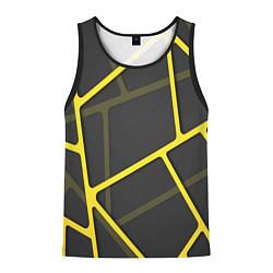 Майка-безрукавка мужская Желтая сетка цвета 3D-черный — фото 1