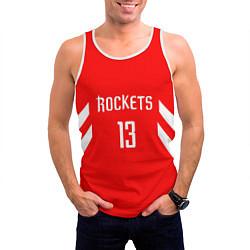 Мужская 3D-майка без рукавов с принтом Rockets: James Harden 13, цвет: 3D-белый, артикул: 10148515904123 — фото 2