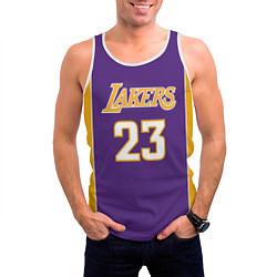 Майка-безрукавка мужская NBA Lakers 23 цвета 3D-белый — фото 2