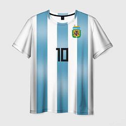 Футболка мужская Сборная Аргентины: Месси ЧМ-2018 цвета 3D — фото 1