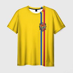 Футболка мужская Молдавия: лента с гербом цвета 3D — фото 1
