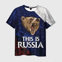 Футболка мужская Russia: Roaring Bear цвета 3D — фото 1