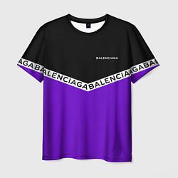 Футболка мужская Balenciaga: Black & Violet цвета 3D — фото 1