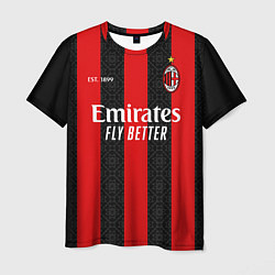 Футболка мужская AC MILAN 2021 - ДОМАШНЯЯ цвета 3D — фото 1