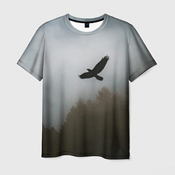 Футболка мужская Орёл над лесом цвета 3D — фото 1