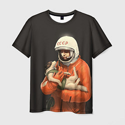 Футболка мужская Гагарин с лайкой цвета 3D-принт — фото 1