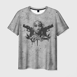 Мужская 3D-футболка с принтом 2Pac Guns, цвет: 3D, артикул: 10092577703301 — фото 1
