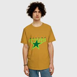 Футболка оверсайз мужская Dallas Stars цвета горчичный — фото 2