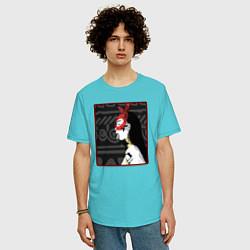 Футболка оверсайз мужская Supreme girl III цвета бирюзовый — фото 2