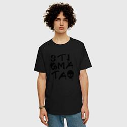 Мужская удлиненная футболка с принтом Stigmata, цвет: черный, артикул: 10141298105753 — фото 2