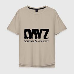 Футболка оверсайз мужская DayZ: Slay Survive цвета миндальный — фото 1