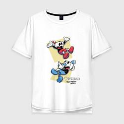 Футболка оверсайз мужская Cuphead Friends цвета белый — фото 1