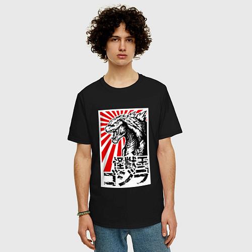Мужская футболка оверсайз Godzilla Poster / Черный – фото 3