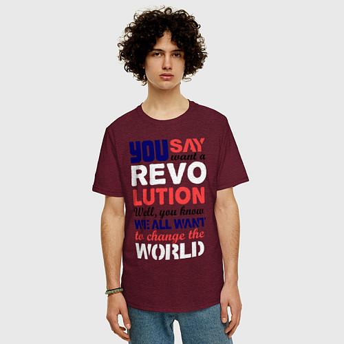 Мужская футболка оверсайз The Beatles Revolution / Меланж-бордовый – фото 3