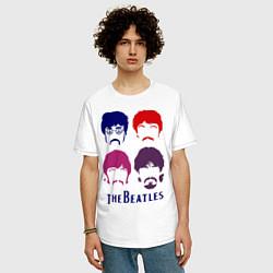 Футболка оверсайз мужская The Beatles faces цвета белый — фото 2