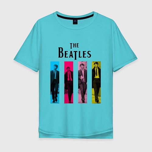 Мужская футболка оверсайз Walking Beatles / Бирюзовый – фото 1