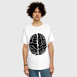 Футболка оверсайз мужская Он: мозг цвета белый — фото 2