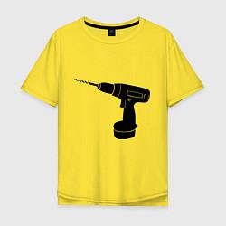 Футболка оверсайз мужская Она: перфоратор цвета желтый — фото 1