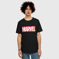Мужская удлиненная футболка с принтом MARVEL, цвет: черный, артикул: 10170665905753 — фото 2