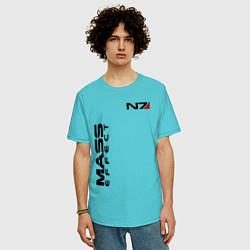 Футболка оверсайз мужская MASS EFFECT N7 цвета бирюзовый — фото 2