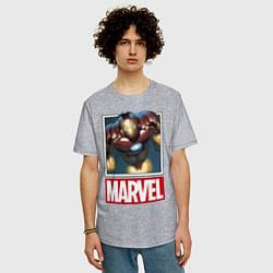 Футболка оверсайз мужская Iron Man: Mark III цвета меланж — фото 2