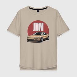 Мужская удлиненная футболка с принтом JDM, цвет: миндальный, артикул: 10212055305753 — фото 1