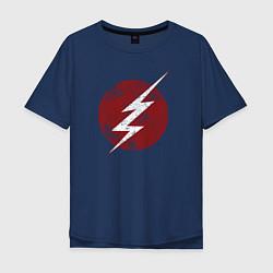 Футболка оверсайз мужская The Flash logo цвета тёмно-синий — фото 1