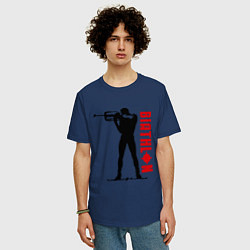 Футболка оверсайз мужская Биатлон цвета тёмно-синий — фото 2