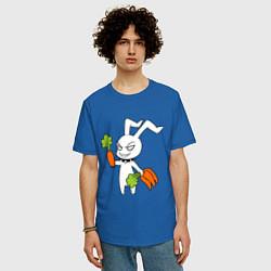 Мужская удлиненная футболка с принтом Злой заяц, цвет: синий, артикул: 10024790705753 — фото 2