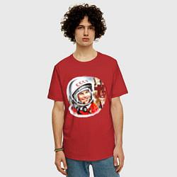 Футболка оверсайз мужская Юрий Гагарин 1 цвета красный — фото 2