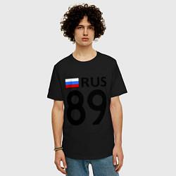 Футболка оверсайз мужская RUS 89 цвета черный — фото 2
