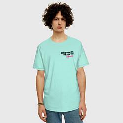 Мужская удлиненная футболка с принтом Dream Team logo, цвет: мятный, артикул: 10278392305753 — фото 2