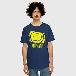 Футболка оверсайз мужская Nirvana Smile цвета тёмно-синий — фото 2