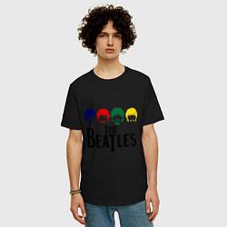 Футболка оверсайз мужская The Beatles Heads цвета черный — фото 2