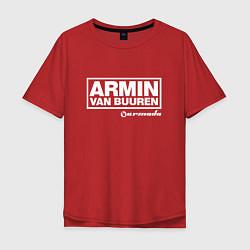 Мужская удлиненная футболка с принтом Armin van Buuren, цвет: красный, артикул: 10061384305753 — фото 1
