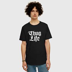 Мужская удлиненная футболка с принтом Thug Life: 2Pac, цвет: черный, артикул: 10068710605753 — фото 2